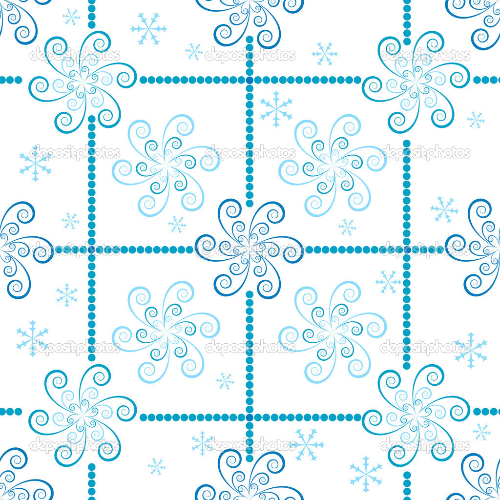 Seamless christmas pattern  from blue snowflakes (vector)  — Stock Vector #1009745