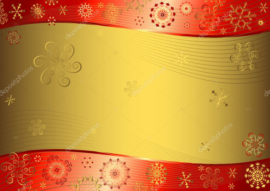 Red christmas background with golden snowflakes (vector) — Stock Vector #1009775