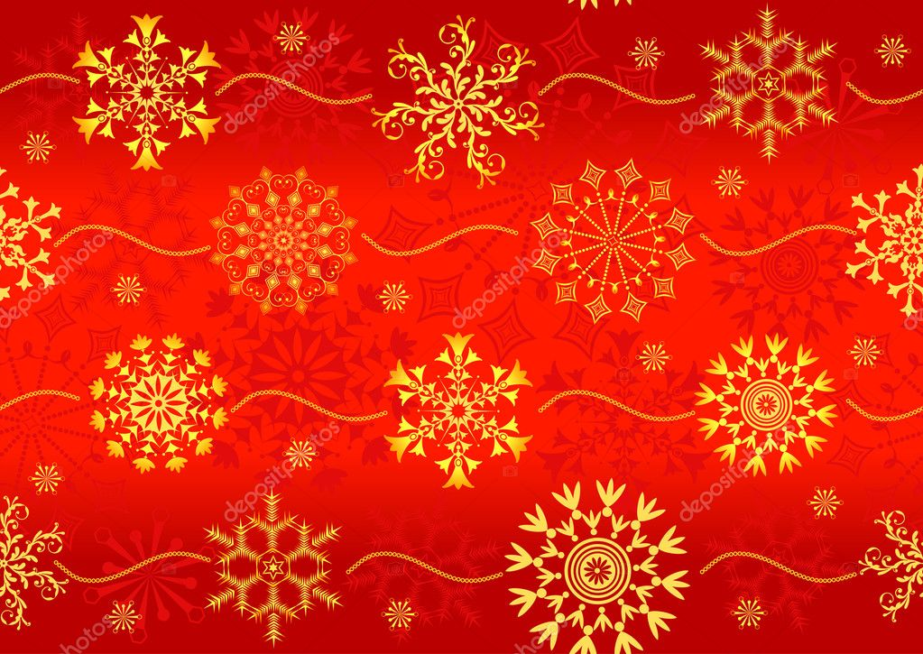 Seamless christmas red pattern with golden snowflakes (vector) — Stock Vector #1009913
