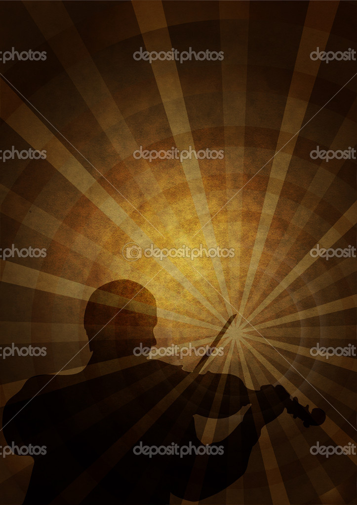 Old paper with a silhouette of a musician with a violin — Stock Photo #1010044