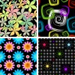 Royalty-Free Stock ベクターイメージ: Set  four abstract seamless pattern