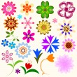 Collection abstract flowers — Imagen vectorial