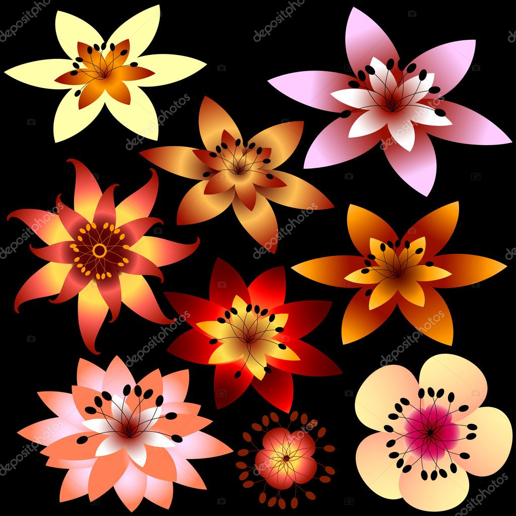 Collection abstract flowers for design (vector) — Stock Vector #1019433