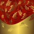 Abstract floral red and golden frame — Stock Vector #1035130