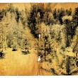 Stock Photo: Old turned yellow paper with landscape
