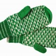 The bicoloured woolen mittens — Stock Photo