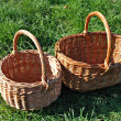 Empty baskets on a grass — Stock Photo