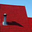 Red roof from a metal tile - Stock Photo