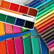 Water colour paints, felt-tip pens — Stock Photo #1054427