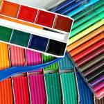 Water colour paints, felt-tip pens — Stock Photo