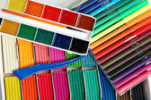 Water colour paints, felt-tip pens — Stock Photo