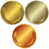 Gold, silver and bronze medals — Stock Vector