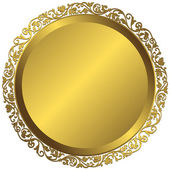 Golden plate with vintage ornament — Stock Vector
