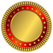 Golden plate with red ring — Stock Vector