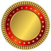Placa dourada com anel vermelho — Vetorial Stock