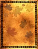 Vecchia carta con foglie di acero — Foto Stock