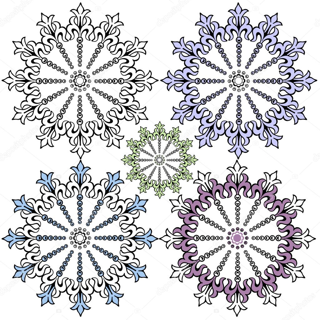 Vintage decorative snowflakes for design (vector) — Stock Vector #1082420