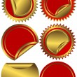Set golden and red labels — Stock Vector