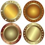 Round metallic banners — Stock Vector