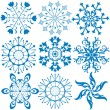Stock Vector: Collection dark blue snowflakes