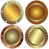 Round metallic banners — Stock Vector