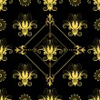 Seamless floral black pattern — Stock Vector