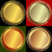 Golden, silvery and bronze plates — Stock Vector