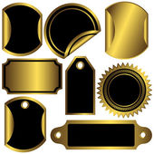 Set golden and black labels — Stock Vector