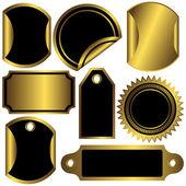 Set golden and black labels — Stock Vector