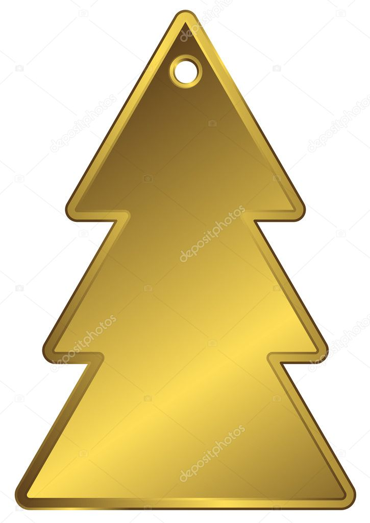Golden metallic a charm in the form of fur-tree  with an aperture at top — Imagen vectorial #1224788