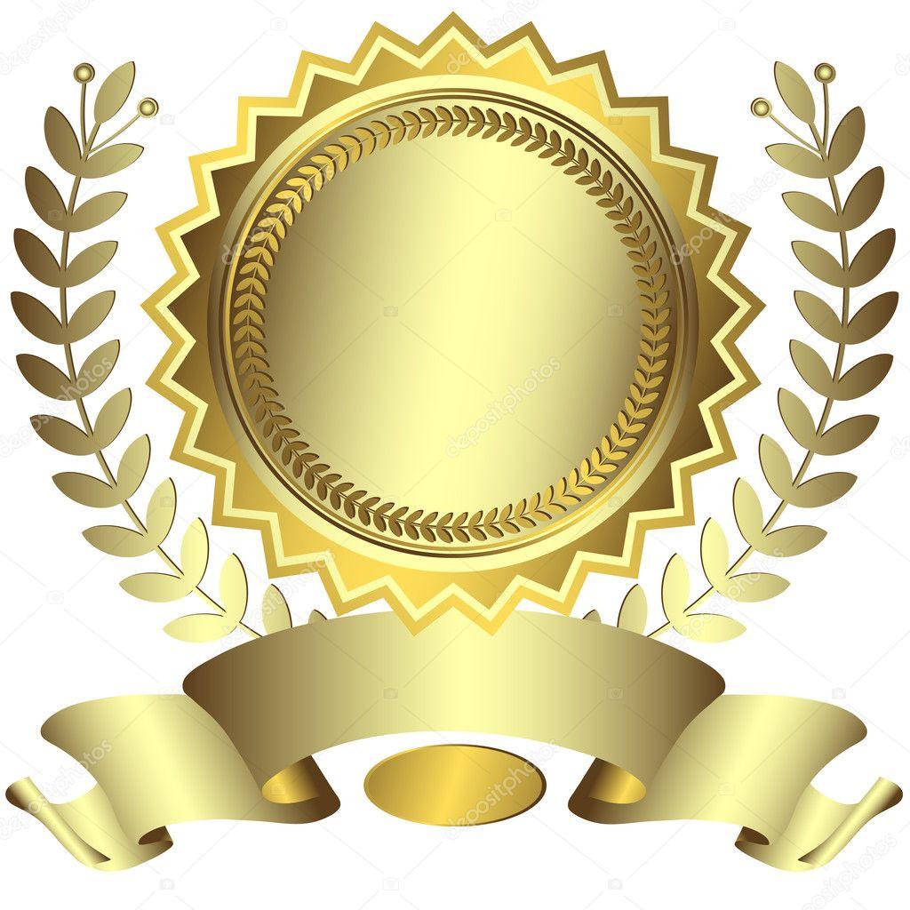 Silvery award with ribbon (vector) — Stock Vector ...