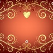 Royalty-Free Stock Vector Image: Valentine pink frame with gold heart