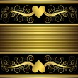 Valentine frame with gold heart (vector) — Stockvector