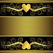 Valentine frame with gold heart (vector) — Vector de stock