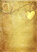 Old yellow-brown valentine paper — Photo