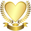 Gold award-heart with ribbon — Stock Vector