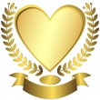 Stock Vector: Gold award-heart with ribbon