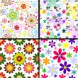 Set seamless floral patterns — ストックベクタ