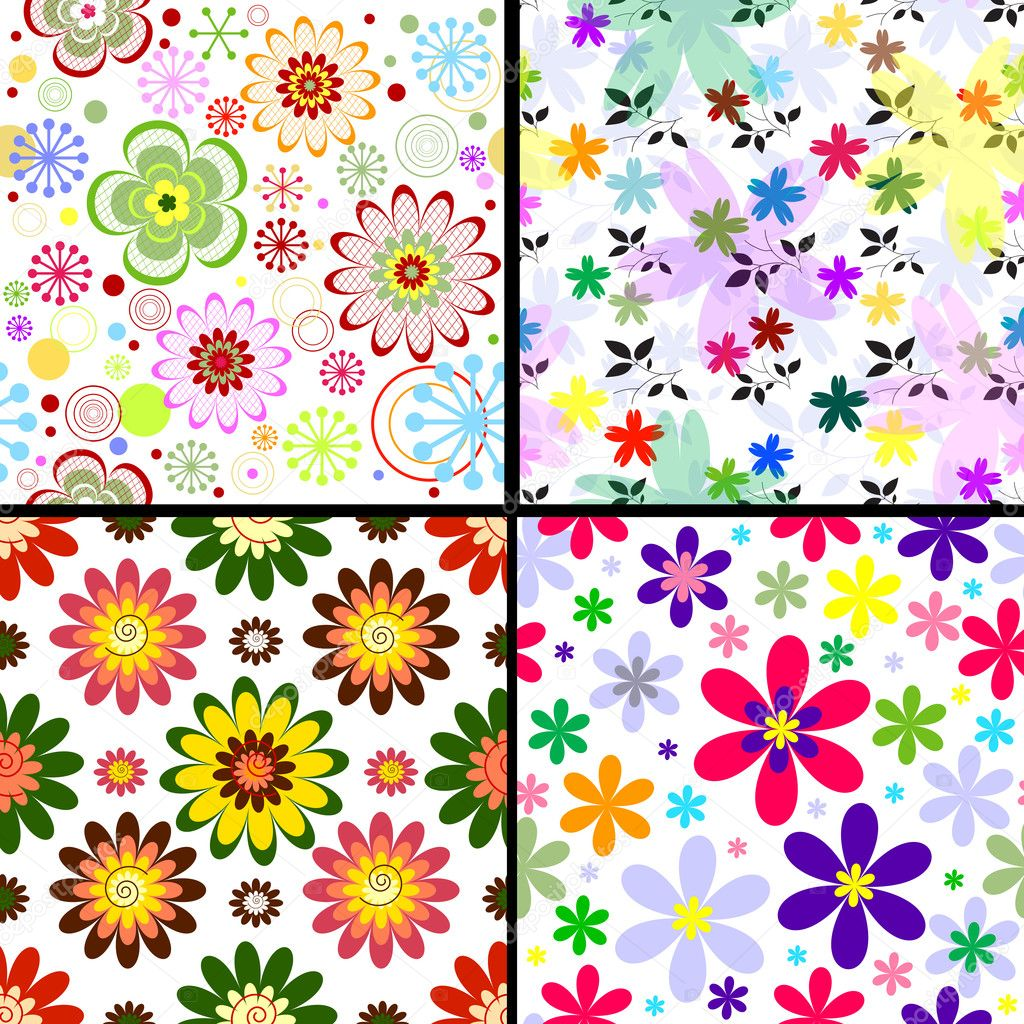 Set seamless floral vivid patterns (vector) — Stock Vector #1926513