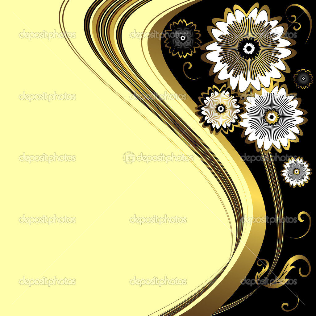 Abstract floral black and gold decorative frame (vector) — Stock Vector #2382170