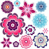 Collection abstract flowers — Stock Vector