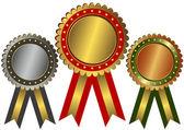 Goldene, silberne und bronzene Auszeichnungen (Vektor) — Stockvektor