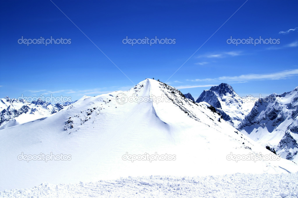 Ski resort. Caucasus Mountains. Dombaj — Stock Photo #1040619