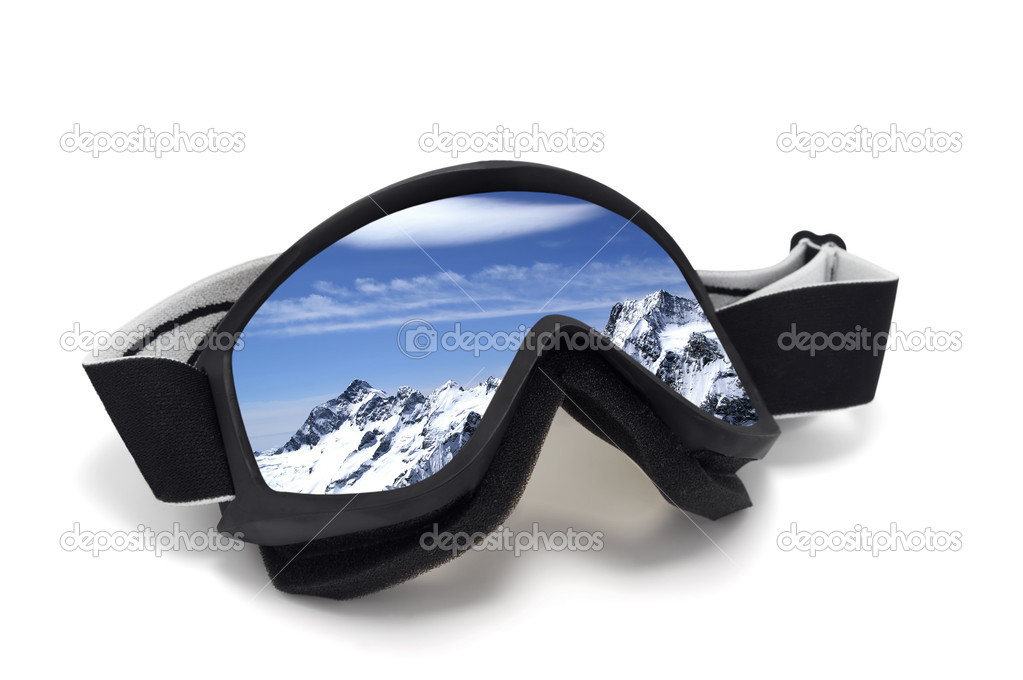 Ski goggles with reflection of mountains. Isolated on white background — Stock Photo #1382601