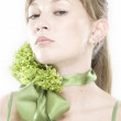 Girl with lettuce hairdo - Stock Photo