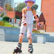Royalty-Free Stock Photo: Child on inline rollerblade skates