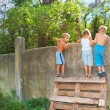 Curious children spying over fence — Stock Photo #1006521
