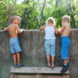 Curious children spying over the fence — Stock Photo #1006961