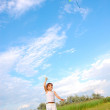 Girl playing with a kite — Stock Photo