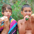 Kids having dinner outdoor — Stock Photo #1007062